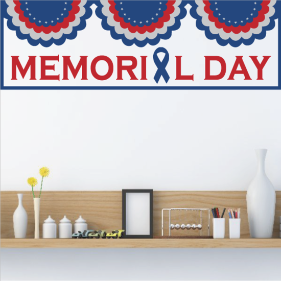 Red White and Blue Memorial Day Bunting Sticker