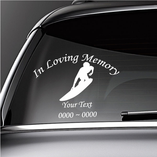 Surfing Guy Custom In Loving Memory Decal