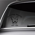 Outlined Butterfly Custom In Loving Memory Decal