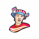 Fourth of July Man with Flag Hat Sticker
