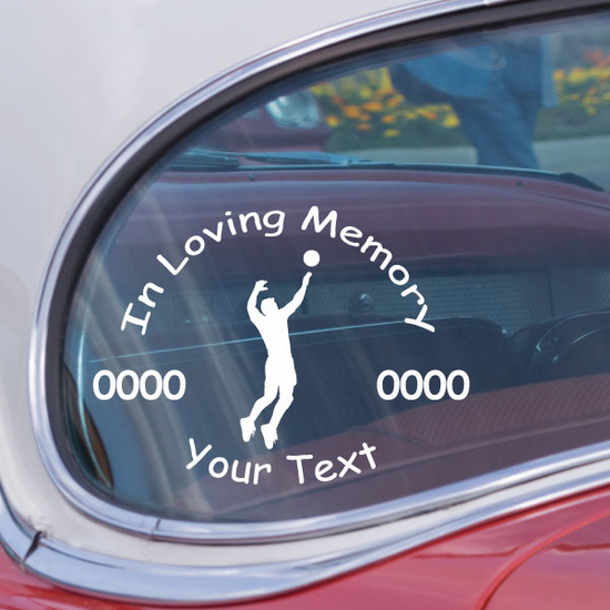 Volleyball Male Custom In Loving Memory Decal