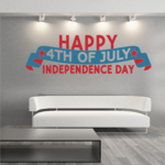 Happy 4th of July Independence day Blue Red Banner Style Decal