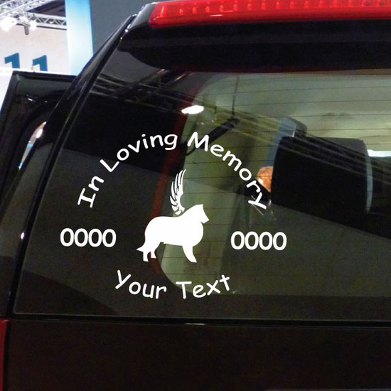 Border Collie with Wings Custom In Loving Memory Decal
