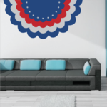 4th of July Red White and Blue Bunting Decal
