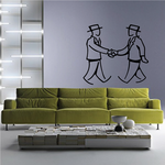 Men Shaking Hands Wall Decal - Vinyl Decal - Car Decal - Business Decal - MC45