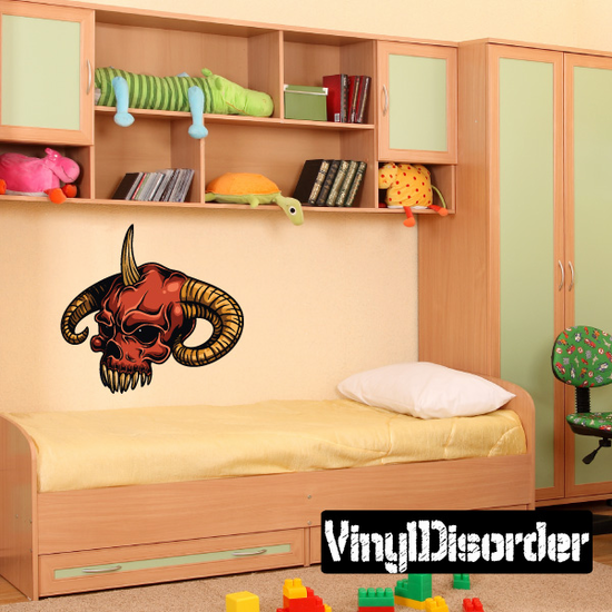 Devil Skull Wall Decal - Vinyl Car Sticker - Uscolor004