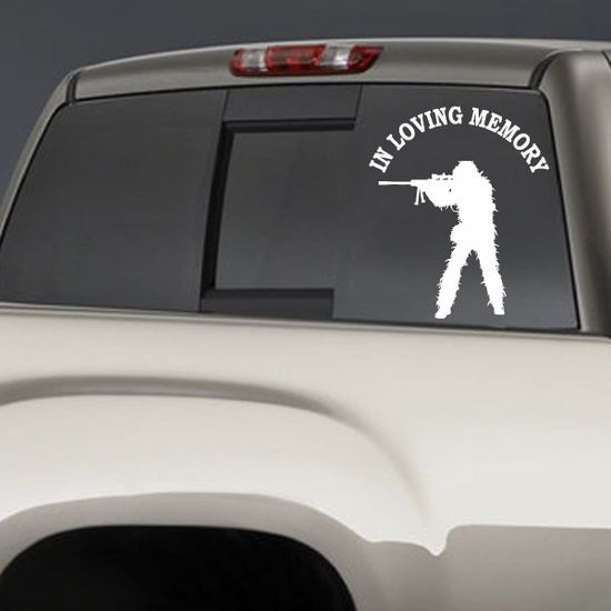 In Loving Memory Camo Soldier Custom Decal