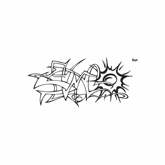 Sun Tribal Graffiti Decal