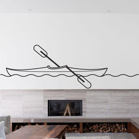 Kayaking Line Art Decal
