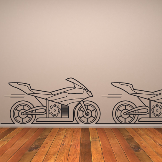 Motorcycle Line Art Decal