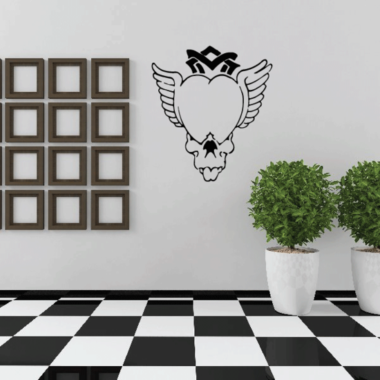 Skull Heart With Wings Wall Decal - Vinyl Decal - Car Decal - CF310