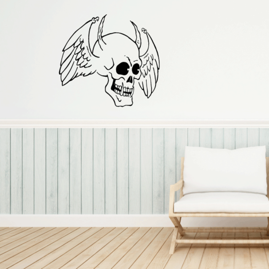 Skull Winged Horns Wall Decal - Vinyl Decal - Car Decal - CF313