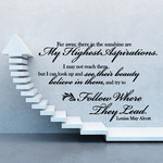 Far away there in the sunshine are My Highest Aspirations Louisa May Alcott Wall Decal