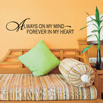 Always on my mind forever in my heart Wall Decal