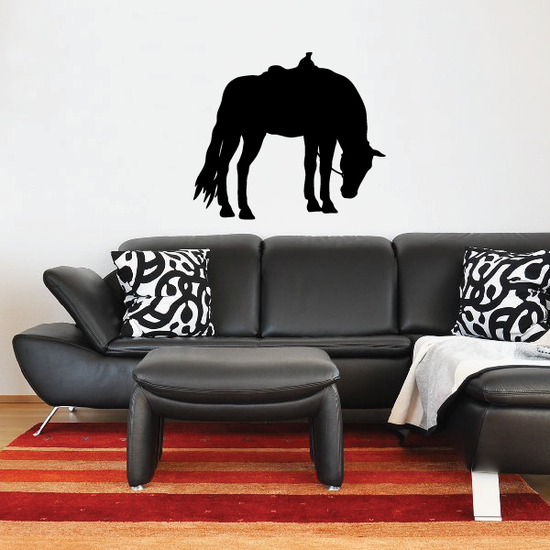 Saddled Horse Grazing Decal