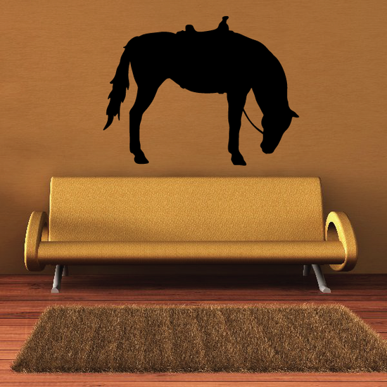 Saddled Horse Drinking Decal