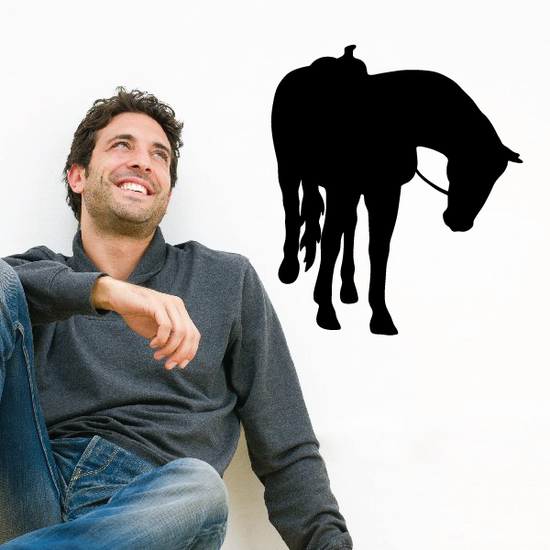 Saddled Horse Looking Over Decal