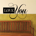 Love You Scroll Text Decal