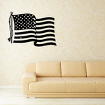 Flapping America Flag in Wind Decal