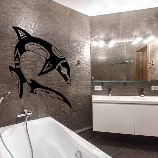 Tribal Diving Orca Whale Decal