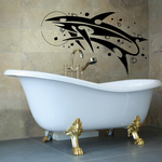 Abstract Wispy Whale and Moon Decal