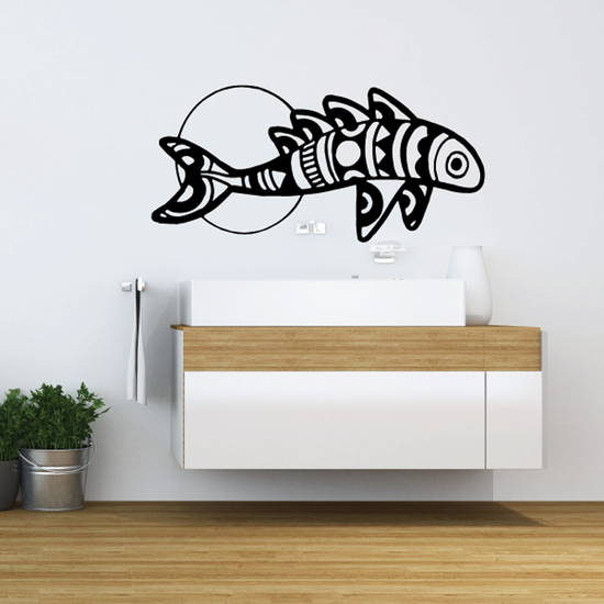 Moon and Multi Fin Back Fish Decal