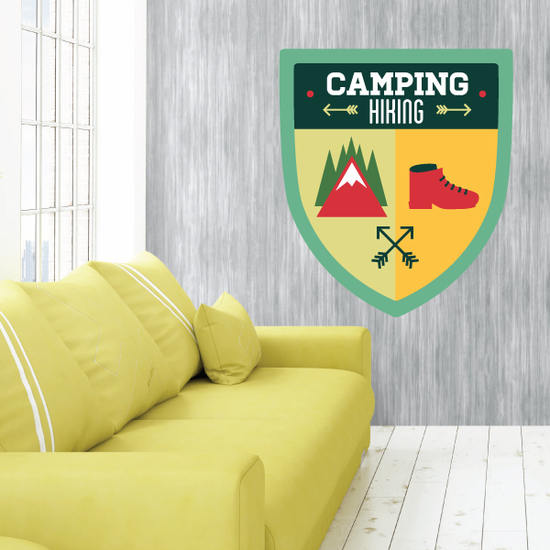 Camping Hiking Camp Badge Wall Decal - Vinyl Decal - Car Decal - Idcolor009