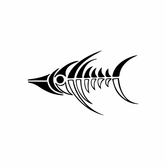 Tribal Fish pin stripes and lines Car Vinyl Decal Sticker Stickers 0045
