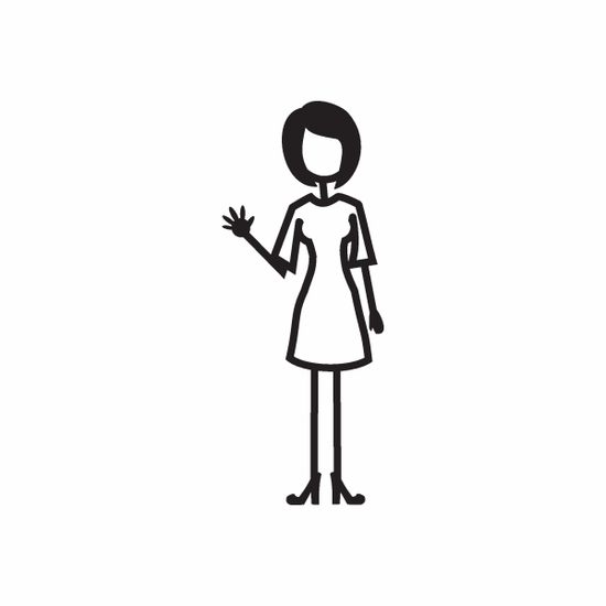 Mom with Right Arm Waving Decal