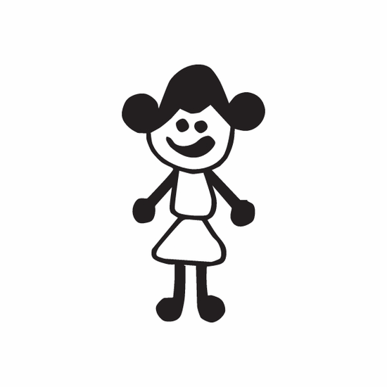 Mom with Swirly Hair Decal