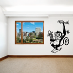 Monkey with Banana Hanging on Branch Decal