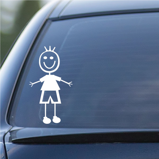 Boy Three Hair Hands Out Decal