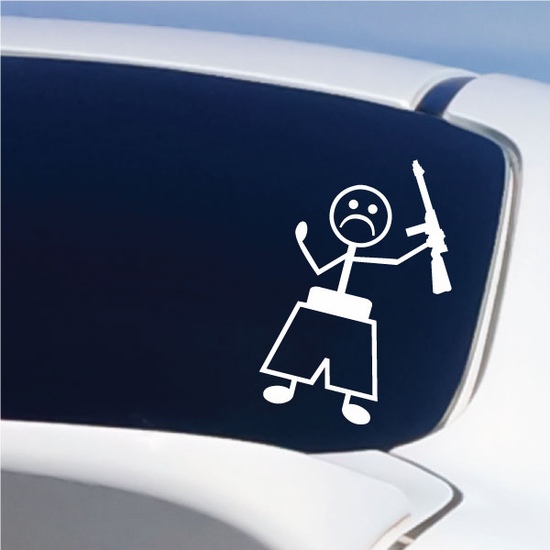 Boy Frowning with Rifle Decal