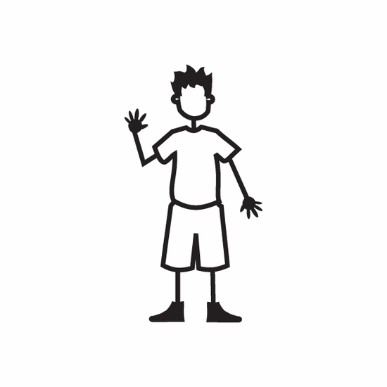 Boy Right Hand Waving Decal