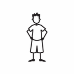 Boy with Hands Behind Decal