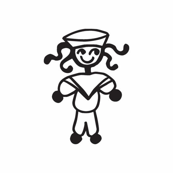 Boy Smiling with Curly Hair Decal