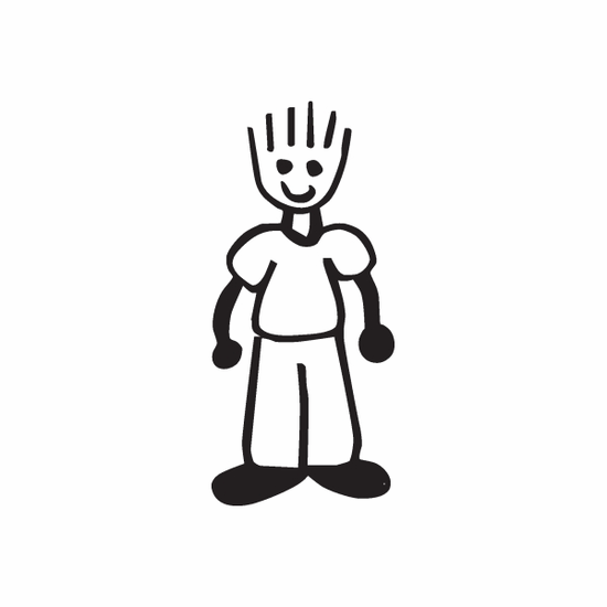 Boy Smiling with Spiky Hair Decal