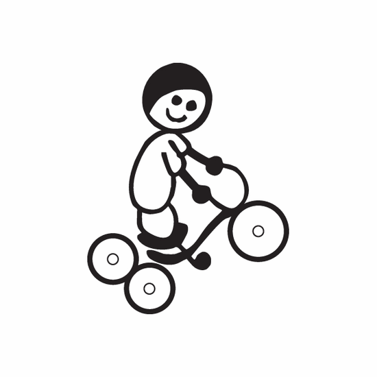 Boy Riding Tricycle Decal