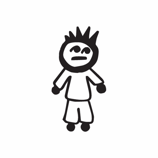 Boy with Straight Face Decal