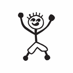 Boy Raising Arms Up Decal