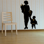 Mom Holding Grocery Bag and Childs Backpack Sticker