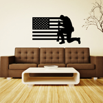America Flag with Praying Soldier Decal