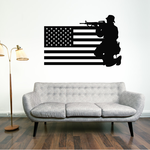 America Flag with Crouched Soldier Decal