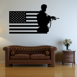 America Flag with Modern Soldier Decal