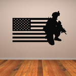 America Flag with Modern Soldier Kneeling Decal