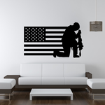 America Flag with Kneeling Soldier Decal