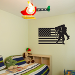 America Flag with Soldier Rescue Decal