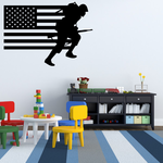 America Flag with Charging Soldier Decal