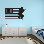 America Flag with Crouched Aiming Soldier Decal
