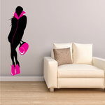 Fashion Girl in Pink Jumpsuit Sticker